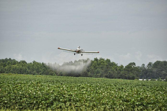 avião pulverizando a plantação